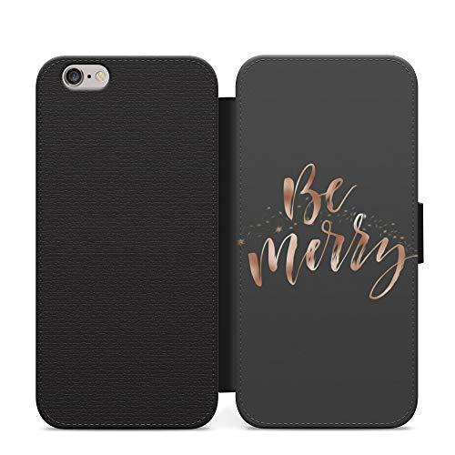 Be Merry Merry Christmas - Funda con tapa para Samsung Galaxy S6 Edge, diseño de caligrafía