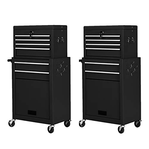 2PCS Rolling Tool Chest, 6-Drawer Toolbox Set of 2, Removable Tool Storage Organizer Lockable Cabinet