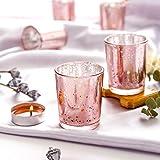 NEWLIGHTRUE Teelichtgläser 48 Stücke Rosegold Glas Votive Kerzenhalter Geschenk oder Tischdeko für Geburtstag, Ostern, Hochzeit, Muttertag (Rosegold) - 3