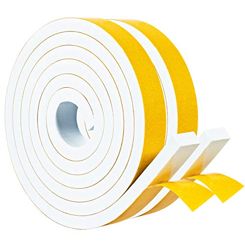 White Foam Strips Tape with Adhesive 2 Rolls 1 Inch Wide X 3/8 Inch Thick, High Density Foam Tape Furniture Protective, Weatherstrips, Anticollision, Total 13 Feet Long (2 X 6.5 Ft Each)