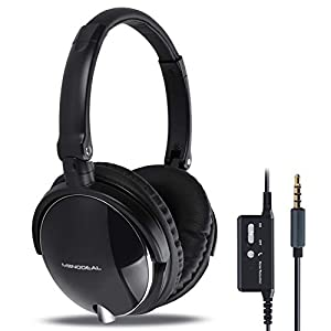 MonoDeal Active Noise Cancelling Headphones With Mic, Folding and Lightweight Travel Headset