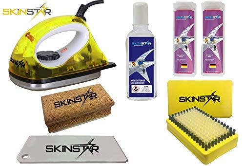 SkinStar Starter Ski Wachs Set, Wachsbügeleisen Bürste Wachs Reiniger 6-teilig gelb