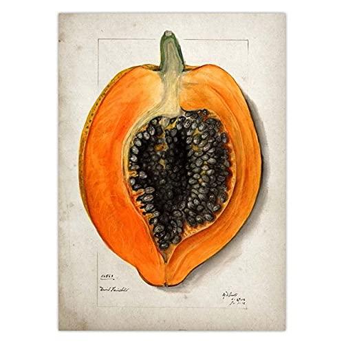 Zhufu Póster De Cocina De Frutas, Póster Retro, Impresión En Lienzo, Pera, Manzana, Piña, Pared, Imagen Art Deco, Pintura En Lienzo, 50X70 Cm (Ob-3076)