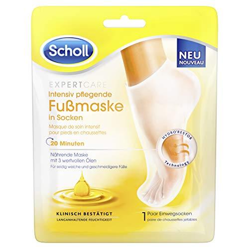 Scholl EXPERTCARE intensiv pflegende Fußmaske mit 3 wertvollen Ölen – Feuchtigkeitsspendende Pflege – 1 Paar Einwegsocken