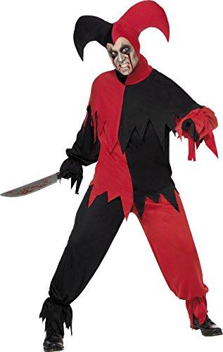 Smiffys 32707M, Disfraz de bufón de miedo: parte de arriba, pantalones y gorro para hombre, rojo/negro, M