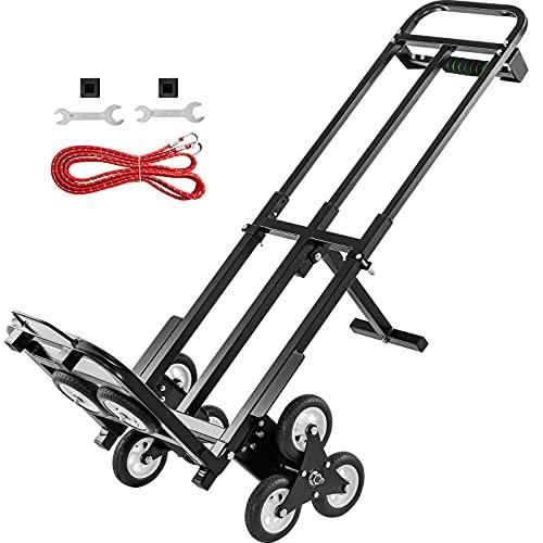 VEVOR Carretilla de Mano Portátil para Escaleras con Mango Ajustable 1145-730 mm, Carro para Escaleras Acero Plegable Capacidad de 460 lbs (209 kg), Carrito Compra Escalera con Ruedas Estables
