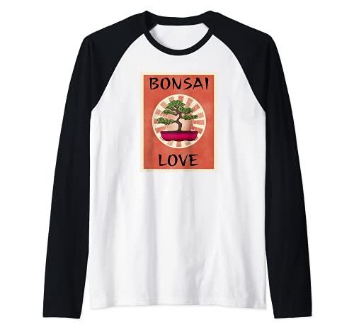 BONSAI LOVE - Ventilador para árbol en miniatura, diseño de árbol Camiseta Manga Raglan