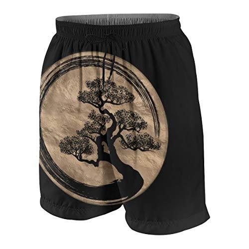 Meiya-Design Enso Zen - Bañador para Hombre con Bolsillo, diseño de círculos y árbol bonsái, Color Dorado Multicolor Multicolor S