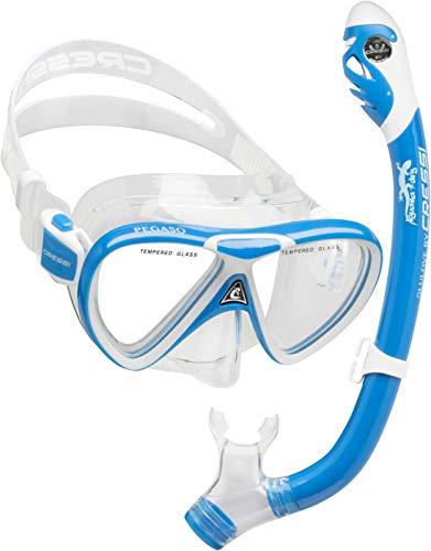 Cressi C/Set Pegaso & Iguana Dry Kit de Snorkeling, Unisex niños, Transparente/Azul/Blanco, Uni