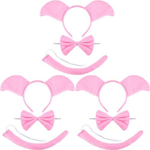 Zonon Conjunto de Disfraz de Cerdo Rosa de 9 Piezas Incluye Diedema de Orejas Pajaritas y Cola Rizada Larga de Cerdo para Disfraz de Halloween o Decoración de Fiesta