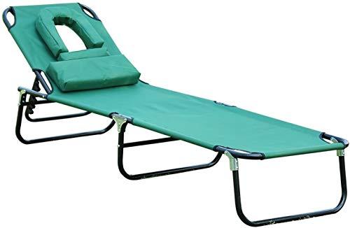 Silla de playa, tumbona, sillón ajustable, con cavidad facial, plegable, playa, camping, tumbona, jardín reclinable