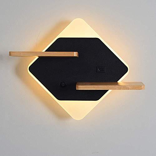 Aplique de pared, luces LED de pared para interiores modernas de 11 W con interruptor, lámparas de pared para niños para dormitorio con puerto de carga USB, lámpara de noche con estante de madera, pa