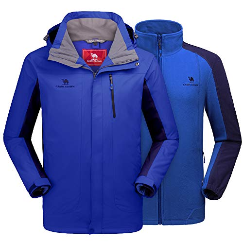CAMEL CROWN Men's Ski Jacket 3 in 1 Waterproof Winter Jacket Snow Jacket Windproof Hooded with Inner Warm Fleece Coat Blue