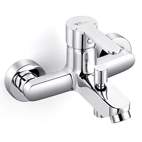 Amzdeal Grifo para baño y ducha Grifo de bañera con el Cuerpo de cobre Mezclador de baño Monomando para bañera de Mango de aleación de titanio, Plateado