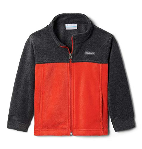 Columbia Boys' Toddler Steens Mt II Jacket, Soft Fleece with Classic Fit, Wildfire/Charcoal Heather, 4T