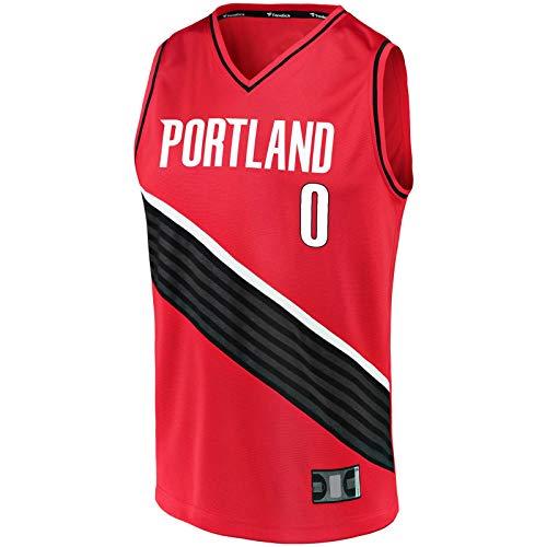 Portland Top Camiseta sin mangas Lillard Traning Jersey Damian Basketball Jersey Trail Blazers -Rojo -#0 Fast Break Jersey Statement Edition-XL