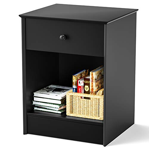 SRIWATANA Nightstand, 2-Tier Bedside Table with Drawer, Modern End Table, Black
