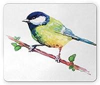 動物のマウスパッド防傷ファッション、木の枝に水彩のかわいい鳥芸術的な自然の野生動物の画像、標準サイズの長方形滑り止めゴムマウスパッド防傷ファッション、ネイビーブルーとライトグリーン
