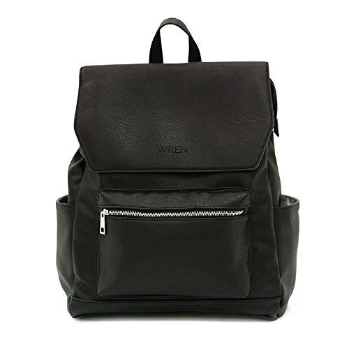 WREN BAG Diaper Bag Backpack - 15 Pockets - Wipeable Premium Vegan Leather w/Changing Mat and USB Charging Port - Black