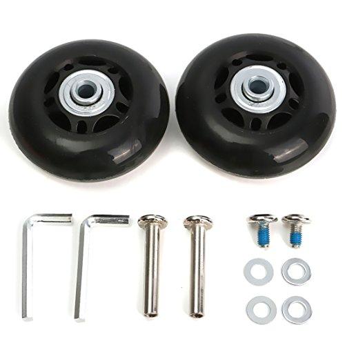 Gesh Juego de 2 ruedas de repuesto para maletas de equipaje, ejes de goma, reparación de lujo, OD 64 mm
