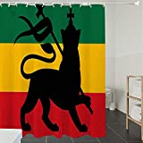 Derun Duschvorhänge, Textil Bad Vorhang aus Polyester, Anti-Schimmel, Rasta, Rastafarian Flagge mit Judah Lion auf Reggae Musik inspirierte Bild, grau,Blickdicht, Wasserdicht, Waschbar, 180X200cm