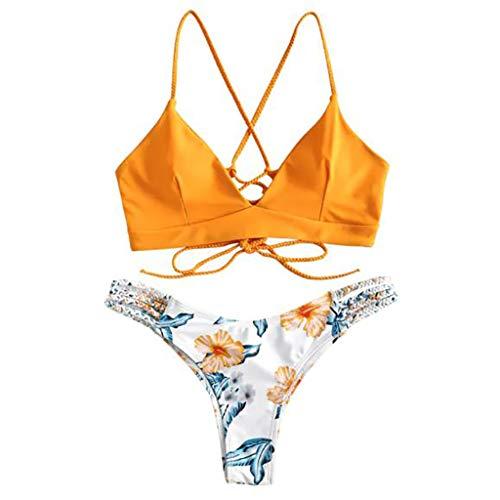 Andouy Damen Triangle Bikini Set Zweiteilige Spaghettiträger Badeanzug Schwimmoberteile Badehose Bikinihosen(M.Orange)