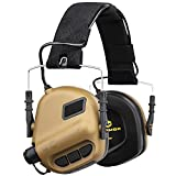 OPSMEN Electronic Shooting Earmuffs Ear Muffs Safety Tactical Sound Amplification Noise Canceling Hearing Protection 22 NRR M31-V2 Brown