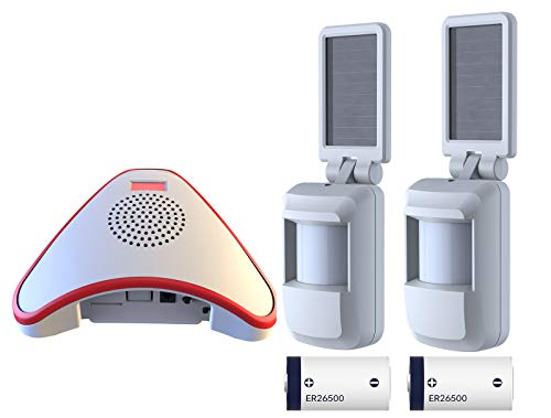 HTZSAFE Solar Wireless Indoor Motion Alarm System-No Need Replace The Battery-Sensor Included 9000mAh Lithium Battery-Home/Business Driveway Security Alarm with 2 Sensors and 1 Receiver