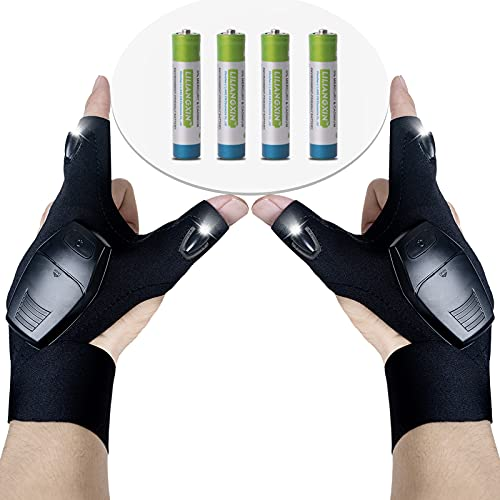 Fathers Day Gifts,LED Flashlights Gloves Cool Gadget for Men as Fishing Camping Hiking Gear LED Light Gloves Repairing Cars Gadgets from Daughter and Son