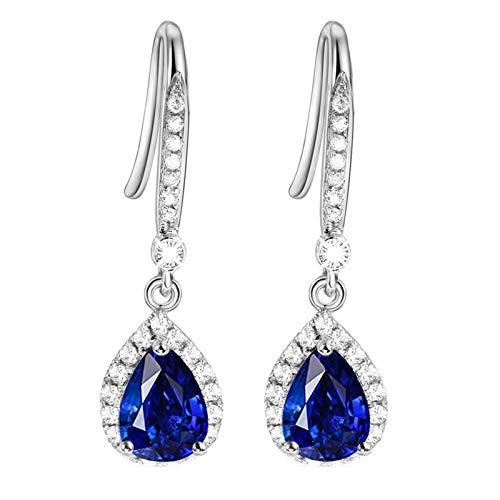 Beydodo Pendiente de Mujer Plata Azul,Pendientes de Oro Blanco 18 Kilates Gota de Agua con Zafiro Azul 2ct
