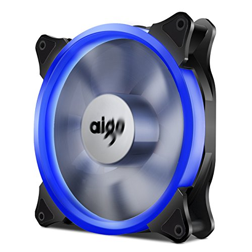Aigo Halo LED Ring Fan 140mm 14cm Case Fan Silent Sleeve Bearing PC CPU Cooling Neon Quite Clear Case Fan Mod 4 Pin/3 Pin for Computer Cases CPU Coolers and Radiators (140mm, Blue)
