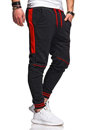 behype. Herren Lange Trainingshose Jogging-Hose Sport-Hose Kontrast-Stripes 60-3171 Schwarz-Rot XL