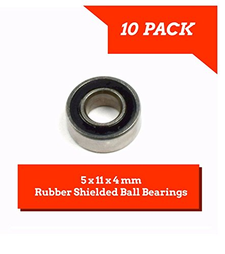 10 PACK 5x11x4mm Rubber Shielded Ball Bearings MR115-2RS - Apex RC Products #1925R