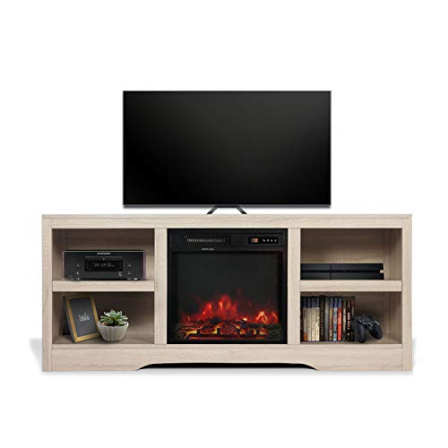 58' TV Stand with Electric Fireplace,Fireplace Console,Storage Shelves Entertainment Center for Living Room,Whie Oak