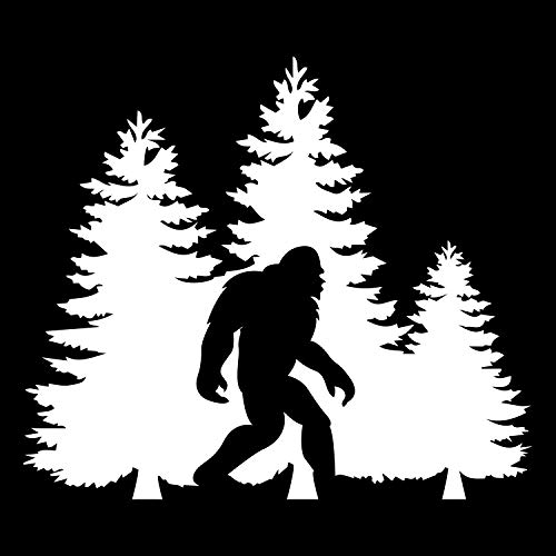 Bigfoot Trees Forest Vinyl Decal Sticker Car Truck Van SUV Window Wall Cup Laptop - One 5.5 Inch White Decal- MKS0678
