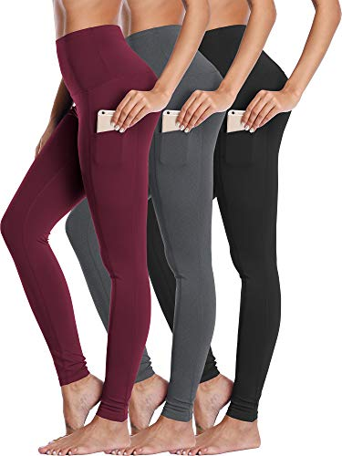 Neleus Women's 3 Pack Yoga Pant Workout Leggings Tummy Control High Waist,103,Black,Grey,Dark Red,US M