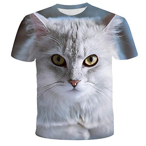 Unisex 3D Estampado De Cabeza De Gato Estampado Animal Verano Transpirable Deporte Ropa Informal Jerseys...