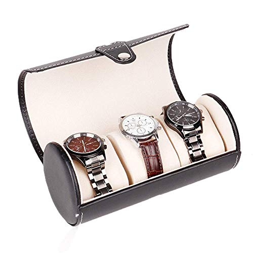 DHTOMC Watches Box Watch Box Display Watch Box Pu Leather Cylinder Watch Display Storage Box For 3 Watches Watch Organizer (Color : Black, Size : One size) (Color : Black, Size : One Size) Xping