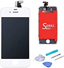LCD Touch Screen Digitizer Display Replacement Assembly with Repair Tool for iPhone 4-White