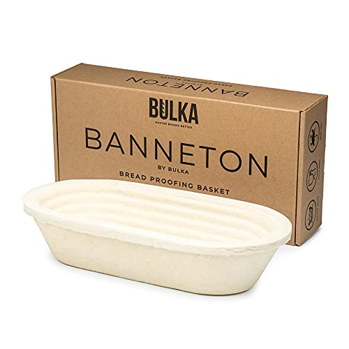 Bulka Banneton Bread Proofing Basket Brotform Spruce Wood Pulp Oval 750g - Non-Stick Batard Dough Proving Bowl Boule Container for Bread Making Sourdough Artisan Loaves, Made in Germany.