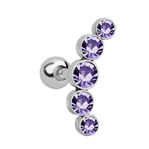 Ruby569y Pendientes colgantes para mujeres y niñas, 1 pieza de joyería para cartílago de diamantes de imitación para mujer, hélice, tragus, pendientes de oreja, piercing de oreja, color morado