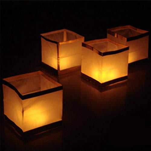 Uonlytech 10 Stück Wasser-Schwimmende Kerzen Lampions Papier Kerze Licht Outdoor Biologisch abbaubare Laternen Chinesische Laternen zum Beten Segen Wishing mit Kerze 10 cm (Golden)