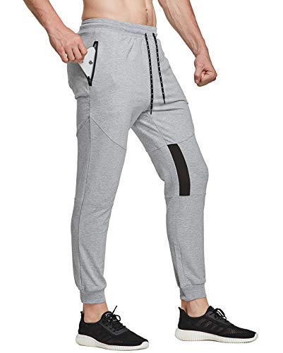 FEDTOSING Pantalones de deporte para hombre, de algodón, ajustados gris claro S