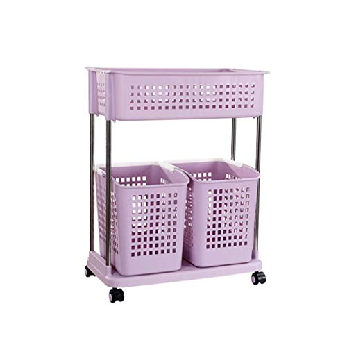 2-Tier Rolling Storage Basket Trolley Laundry Sorter Cart Shelf Floor-Standing Hamper High Capacity Dirty Clothes Basket Utility Storage Organizer for Washing Bin Kitchen Basin Color  Purple