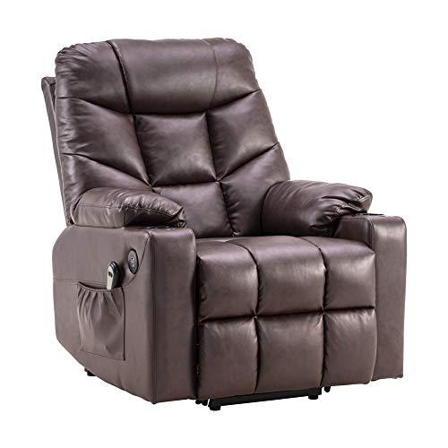 N/P AIBOOSTPRO Elektrisch Aufstehhilfe Fernsehsessel Relaxsessel Massage Heizung elektrisch verstellbar USB Anschluss (Braun)