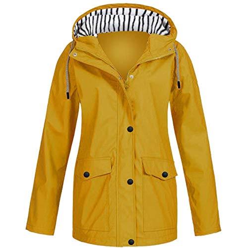 Chaqueta de lluvia sólida al aire libre impermeable con capucha impermeable a prueba de viento Outwear señoras calientes