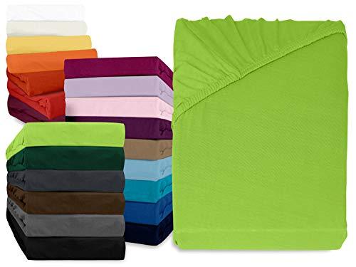 npluseins klassisches Jersey Spannbetttuch - erhältlich in 34 modernen Farben und 6 verschiedenen Größen - 100{53a6a2154dc421976f4447f34ebe9ca4f89c5354f9d6d03feff3c6935acd3856} Baumwolle, 120 x 200 cm, apfelgrün