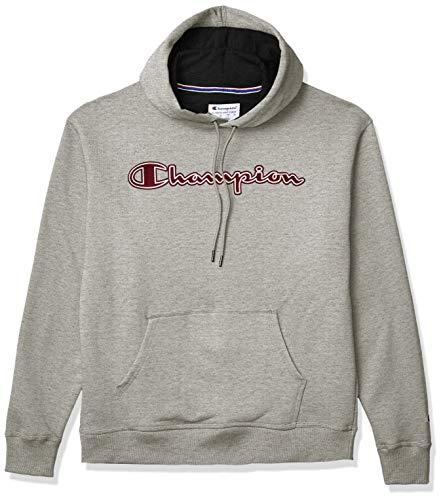 Champion Men's Powerblend Applique Hoodie, Oxford Gray, 2X Large