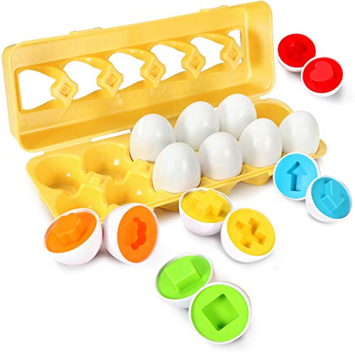 Image of the TomatoFish Color Shape Matching Egg Set - Preschool STEM Toys - Educational Color & Shape/Number Recognition Skills Learning Toys - Sorting Puzzle for Toddlers Boys Girls - Easter Match Eggs (Shape)