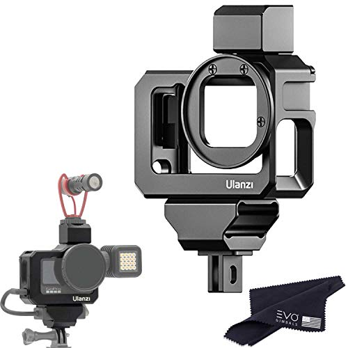 Ulanzi G9-5 CNC Camera Vlog Cage for GoPro HERO9   Dual Cold Shoe Mounts with Audio Mic Adapter Housing Compatible with GoPro Hero 9 Camera